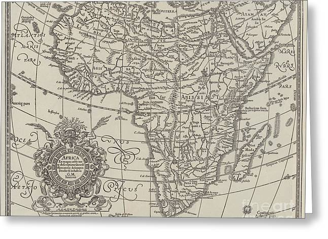Map Of The Continent Of Africa Nearly Three Hundred Years Old Greeting Card by English School