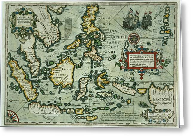 Asia Drawings Greeting Cards - Map of the East Indies Greeting Card by Dutch School