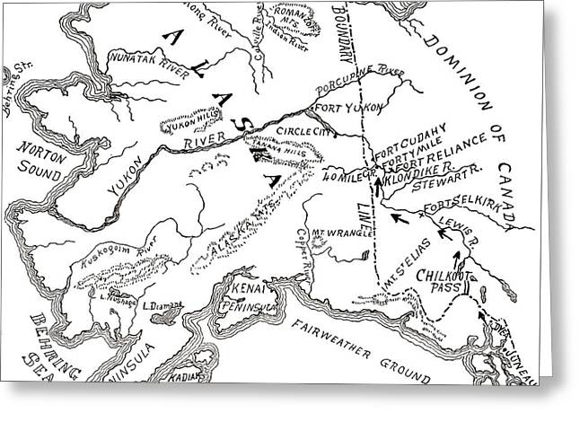Map Of The Klondike Gold Diggings And Vicinity, Alaska Greeting Card by American School