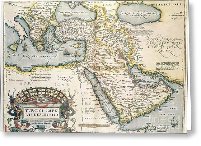 Border Drawings Greeting Cards - Map of the Middle East from the Sixteenth Century Greeting Card by Abraham Ortelius
