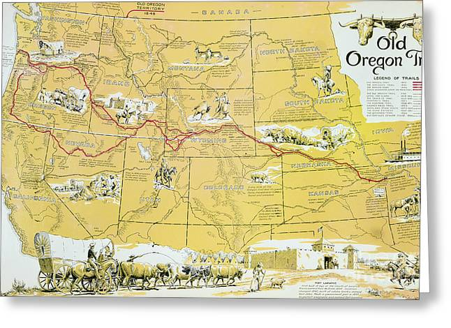Map Of The Old Oregon Trail Greeting Card by American School