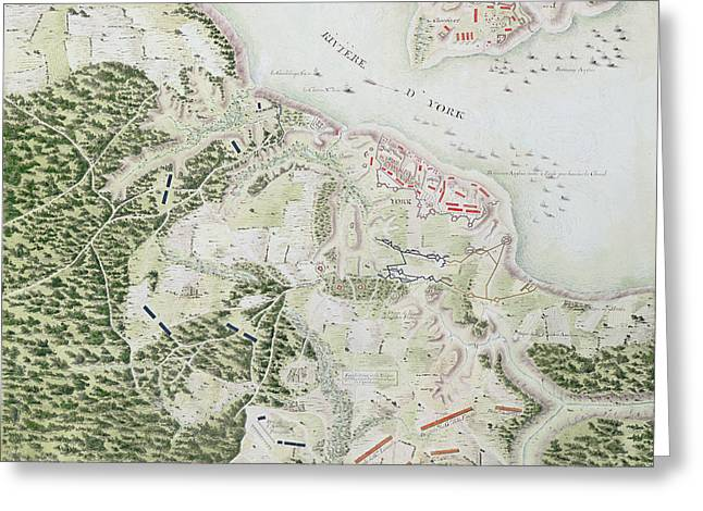 Map Of The Siege Of York Greeting Card by F Dubourg