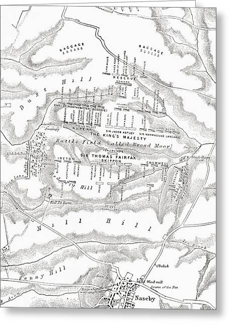 Civil War Battle Site Greeting Cards - Map Of The Site Of The Battle Of Greeting Card by Ken Welsh