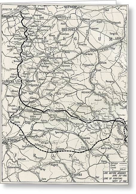 Western Front Greeting Cards - Map Of The Somme Offensive On The Greeting Card by Ken Welsh