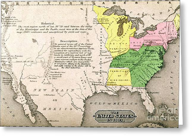 Present Paintings Greeting Cards - Map of the United States Greeting Card by John Warner Barber and Henry Hare