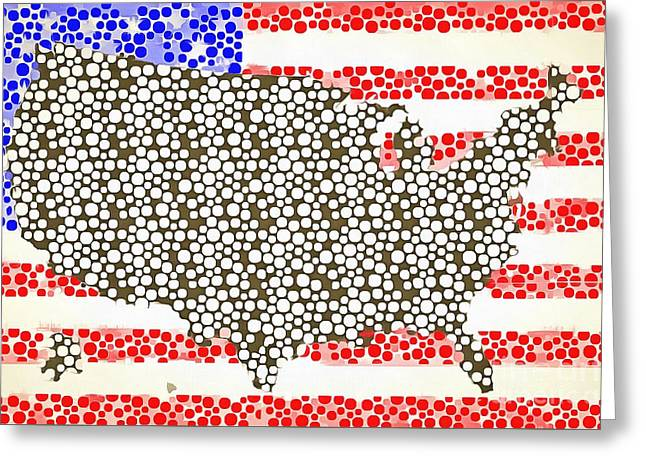 Map Of The United States Of America Pop Art Greeting Card by Edward Fielding