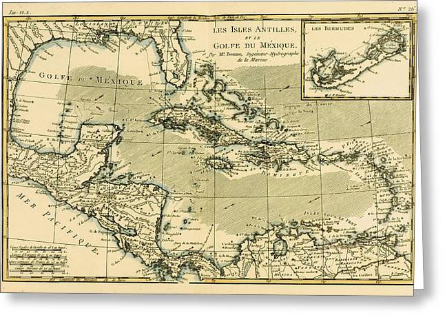 Mexican Drawings Greeting Cards - Map Of The West Indies And The Mexican Greeting Card by Ken Welsh