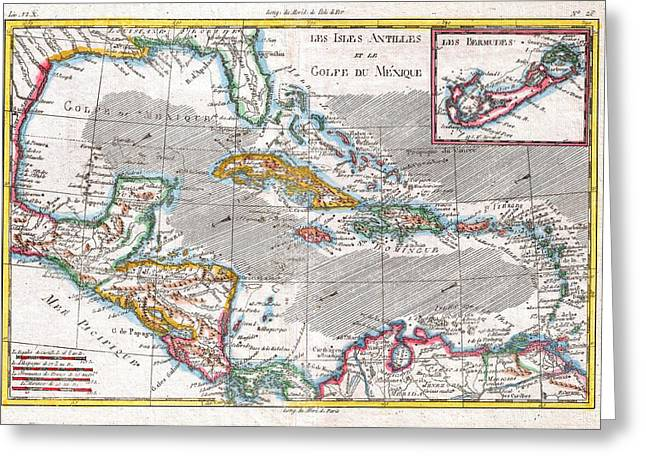 Old Map Paintings Greeting Cards - Map of the West Indies Caribbean and Gulf Greeting Card by Celestial Images