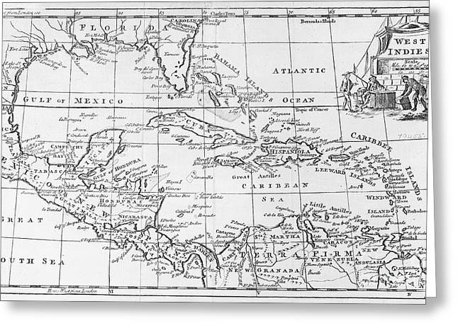 Celestial Paintings Greeting Cards - Map of the West Indies Florida and South America Greeting Card by English School