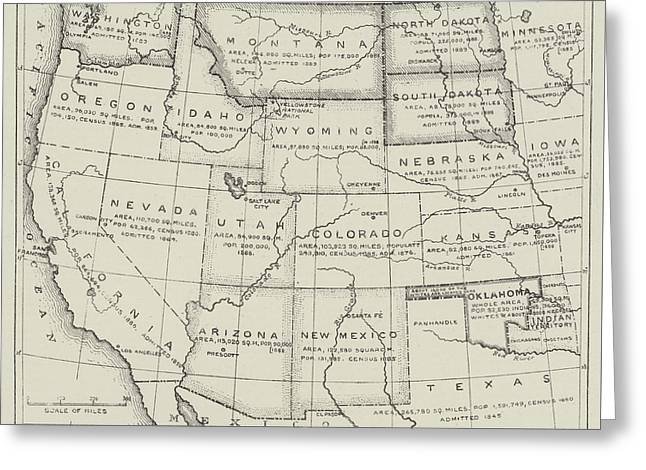 Map Of The Western States Of America Greeting Card by English School