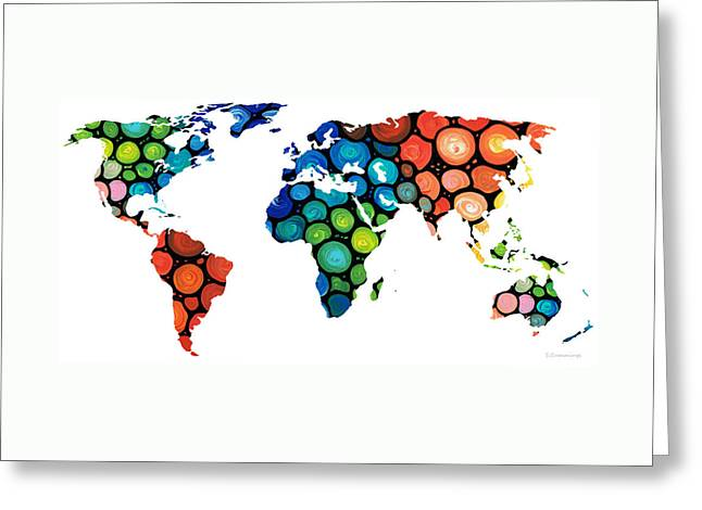 Purchase Greeting Cards - Map of The World 1 -Colorful Abstract Art Greeting Card by Sharon Cummings