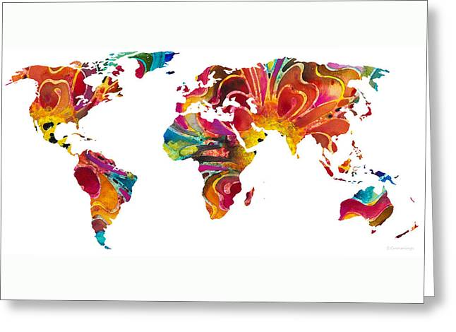 Purchase Greeting Cards - Map of The World 2 -Colorful Abstract Art Greeting Card by Sharon Cummings