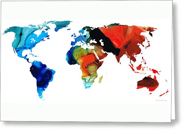 Purchase Greeting Cards - Map of The World 3 -Colorful Abstract Art Greeting Card by Sharon Cummings