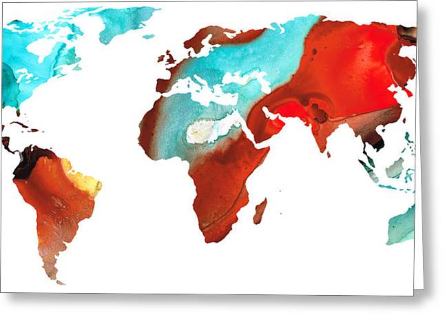 Map Mixed Media Greeting Cards - Map of The World 4 -Colorful Abstract Art Greeting Card by Sharon Cummings