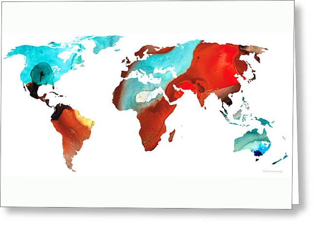 Purchase Greeting Cards - Map of The World 4 -Colorful Abstract Art Greeting Card by Sharon Cummings