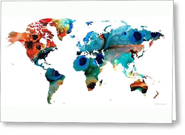 Purchase Greeting Cards - Map of The World 6 -Colorful Abstract Art Greeting Card by Sharon Cummings