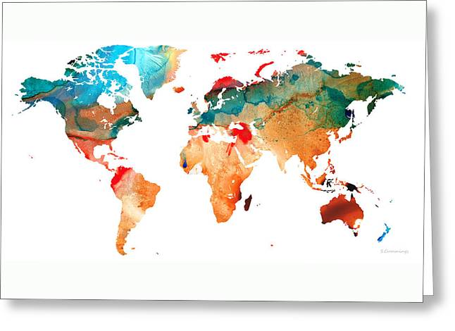 Purchase Greeting Cards - Map of The World 7 -Colorful Abstract Art Greeting Card by Sharon Cummings
