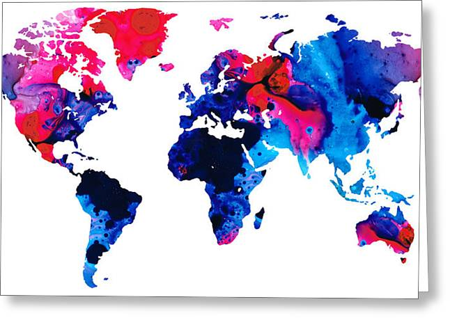 Map Mixed Media Greeting Cards - Map of The World 9 -Colorful Abstract Art Greeting Card by Sharon Cummings