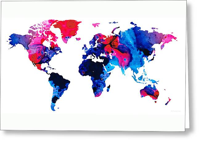 Purchase Greeting Cards - Map of The World 9 -Colorful Abstract Art Greeting Card by Sharon Cummings