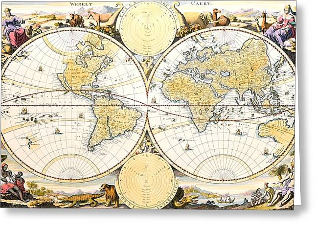 Celestial Paintings Greeting Cards - Map of the World Greeting Card by Daniel Stoopendaal