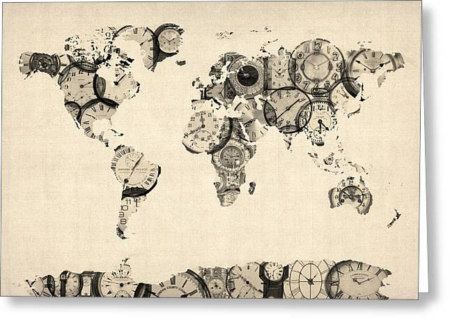 Pocket Watch Greeting Cards - Map of the World Map from Old Clocks Greeting Card by Michael Tompsett
