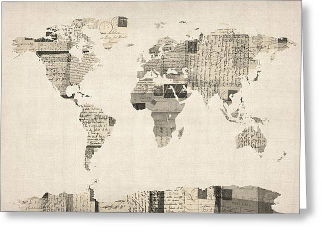 Old Postcards Greeting Cards - Map of the World Map from Old Postcards Greeting Card by Michael Tompsett