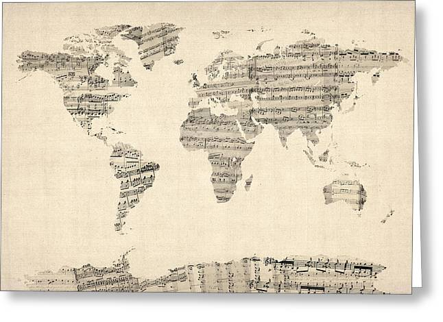 Printed Greeting Cards - Map of the World Map from Old Sheet Music Greeting Card by Michael Tompsett