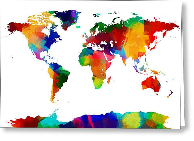 Sponge Greeting Cards - Map of the World Map Painting Greeting Card by Michael Tompsett
