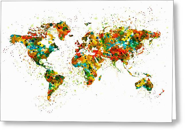 World Digital Map Greeting Cards - Map of the World watercolor Greeting Card by Marian Voicu