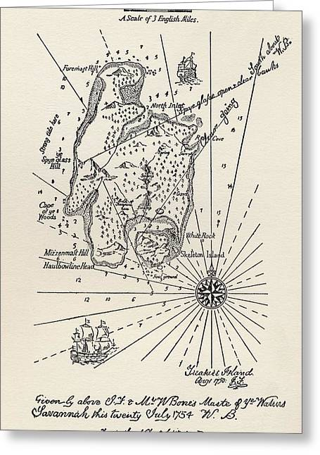 Treasures Drawings Greeting Cards - Map Of Treasure Island. From The Book Greeting Card by Ken Welsh