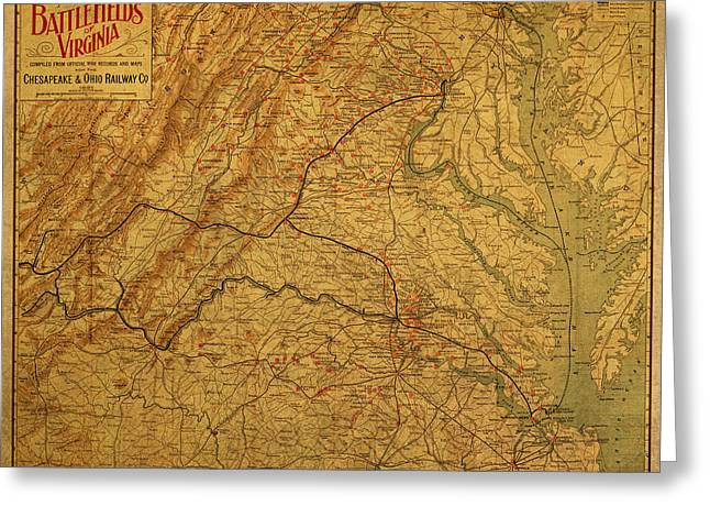 Civil Greeting Cards - Map of Virginia Battlefields Civil War Circa 1892 on Worn Distressed Vintage Canvas Greeting Card by Design Turnpike
