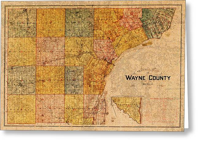 Old Map Mixed Media Greeting Cards - Map of Wayne County Michigan Detroit Area Vintage Circa 1893 on Worn Distressed Canvas  Greeting Card by Design Turnpike