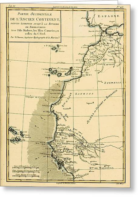 West Africa Greeting Cards - Map Of West Africa Circa.1760. From Greeting Card by Ken Welsh