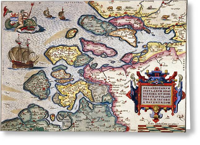 Celestial Paintings Greeting Cards - Map of Zeeland Greeting Card by Abraham Ortelius