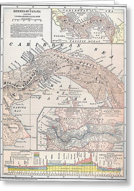 Map: Panama, 1907 Greeting Card by Granger