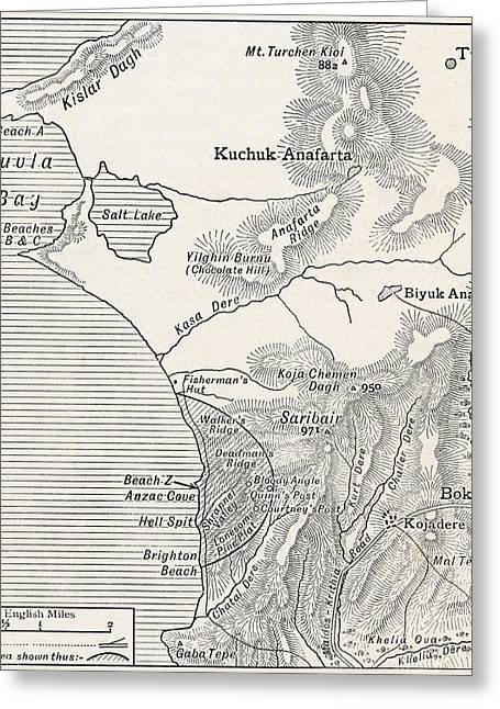 Anzac Greeting Cards - Map Showing Approximately The Greeting Card by Vintage Design Pics