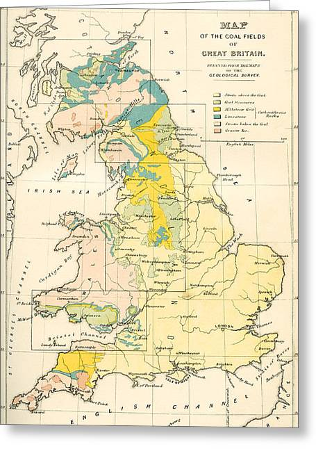 Map Showing The Coalfields Of Great Greeting Card by Vintage Design Pics
