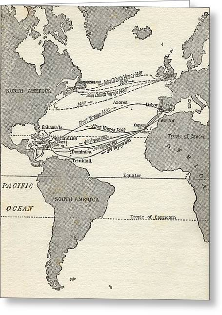 Christopher Drawings Greeting Cards - Map Showing The Voyages Of Christopher Greeting Card by Vintage Design Pics