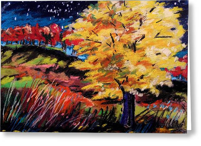 Vivid Colour Drawings Greeting Cards - Maple at Night Greeting Card by John  Williams