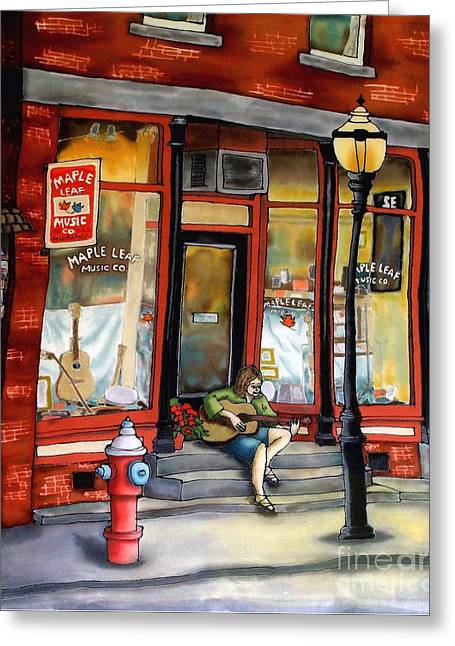 Streets Tapestries - Textiles Greeting Cards - Maple Leaf Music Greeting Card by Linda Marcille