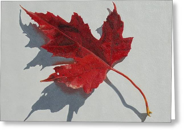 Red Maple Leaves Greeting Cards - Maple Leaf Red Two Greeting Card by Nancy Teague