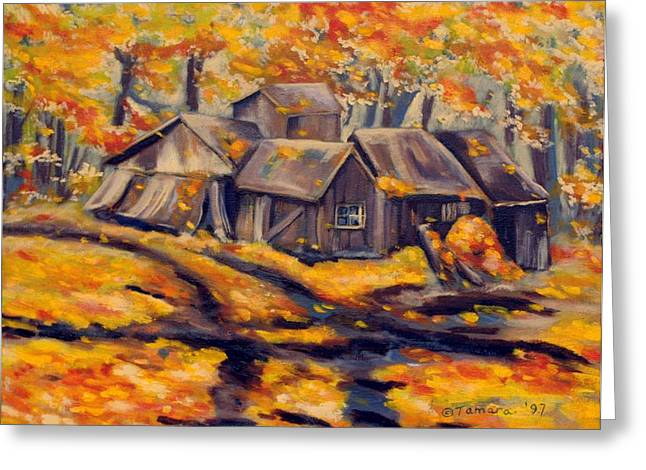 Old Relics Paintings Greeting Cards - Maple Sugar Shack in Quebec Greeting Card by Tamara Kulish