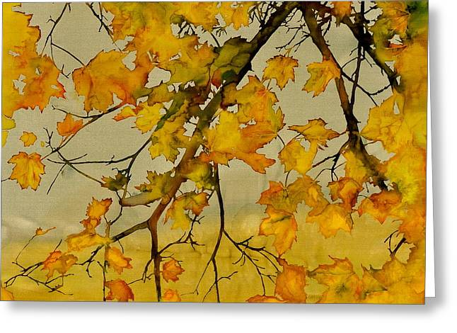 Trees Tapestries - Textiles Greeting Cards - Maples In Autumn Greeting Card by Carolyn Doe