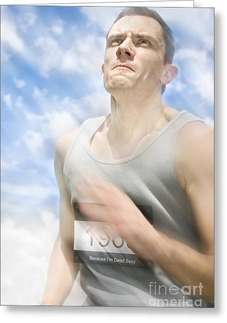 Sweat Greeting Cards - Marathon Motions Greeting Card by Ryan Jorgensen