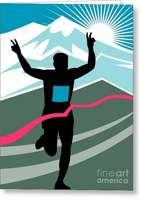 Marathon Race Victory Greeting Card by Aloysius Patrimonio