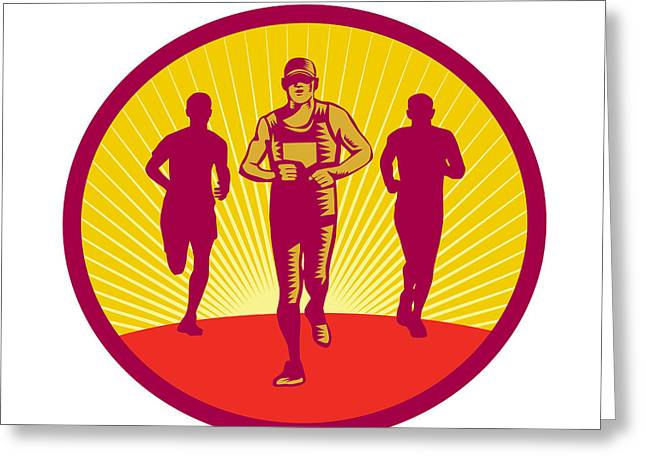 Marathon Runner Circle Woodcut Greeting Card by Aloysius Patrimonio