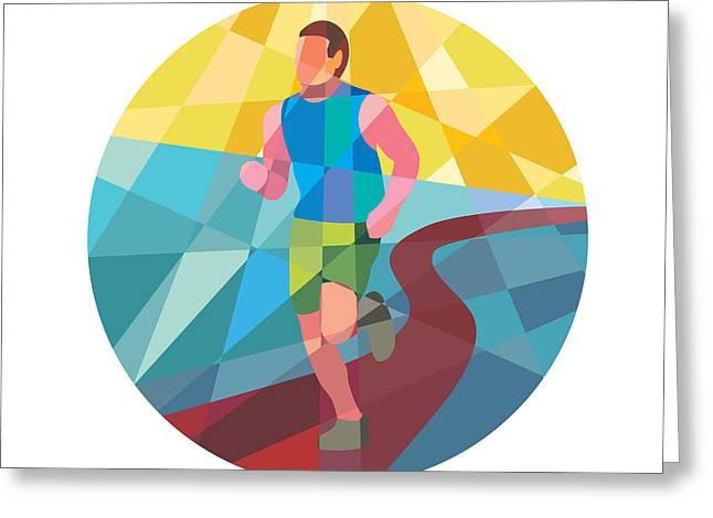 Jogging Greeting Cards - Marathon Runner In Action Circle Low Polygon Greeting Card by Aloysius Patrimonio
