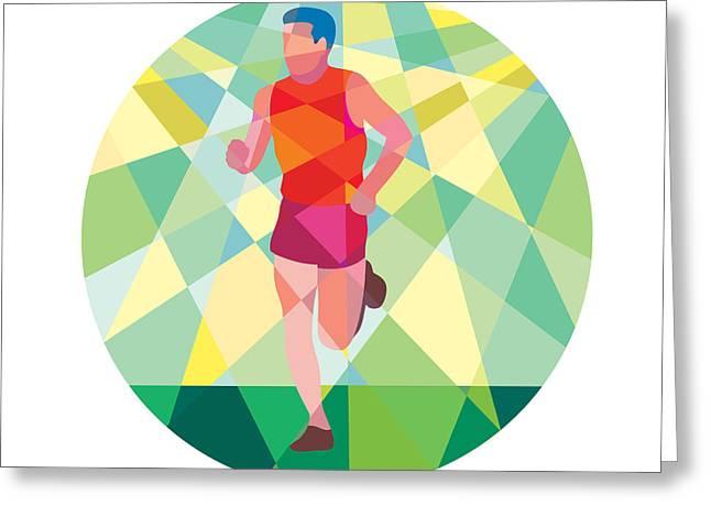Jogging Greeting Cards - Marathon Runner Running Circle Low Polygon Greeting Card by Aloysius Patrimonio
