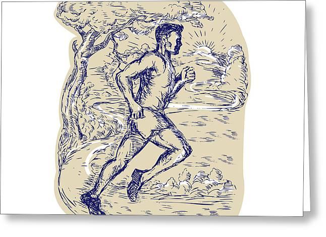 Runner Boards Greeting Cards - Marathon Runner Running Drawing Greeting Card by Aloysius Patrimonio