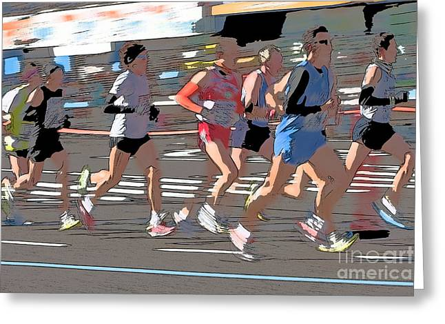 Runner Digital Greeting Cards - Marathon Runners II Greeting Card by Clarence Holmes